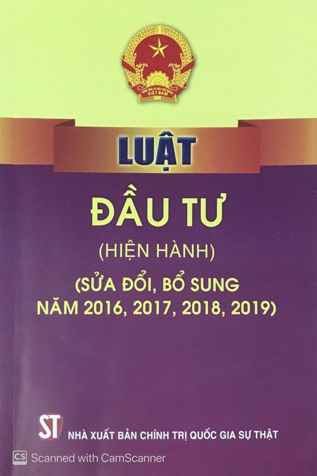 Luật Đầu tư (hiện hành) (sửa đổi, bổ sung năm 2016, 2017, 2018, 2019)